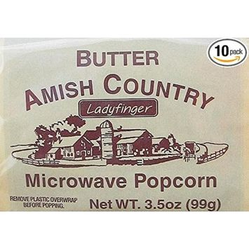 Amish Country Popcorn Microwave Ladyfinger Butter - Old Fashioned Microwave Popcorn - All Natural, Gluten Free, and Non GMO (10 Bags)- with Recipe Guide and 1 Year Freshness Guarantee