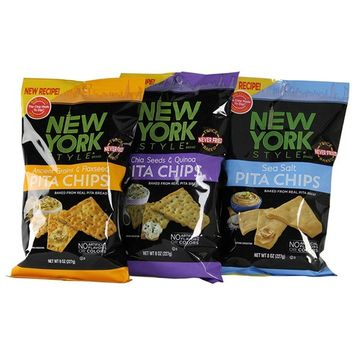 York Style Pita Chips - Sea Salt, Chia Seeds & Quinoa and Ancient Grains & Flaxseed (Variety Pack of 3)