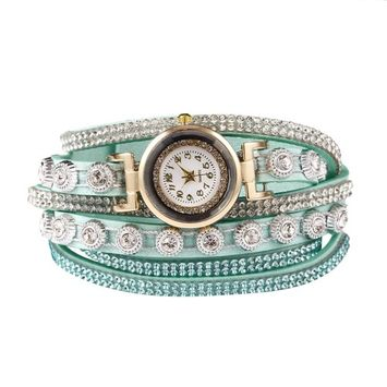 Unbrand - Women Fashion Casual Decor Round Rhinestone Bracelet Watch TOYS2 [name: actual_color value: actual_color-lightblu]