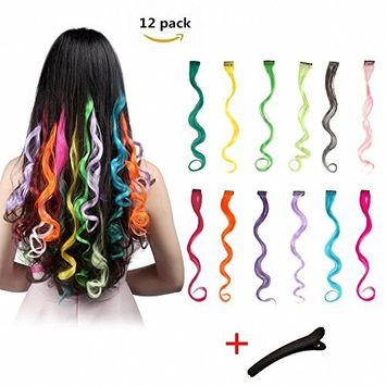 FESHFEN 10 Pcs Light Purple Curly Wave Clip on in Hair Extensions Hairpieces 18 Inches Long Remy Hair Colored Party Highlights Hair Accessories DIY Hair Decoration Cosplay with Gift Hairpin