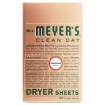 MrsMeyer's Clean Day Geranium Scent Dryer Sheets Reduces Stat Only One