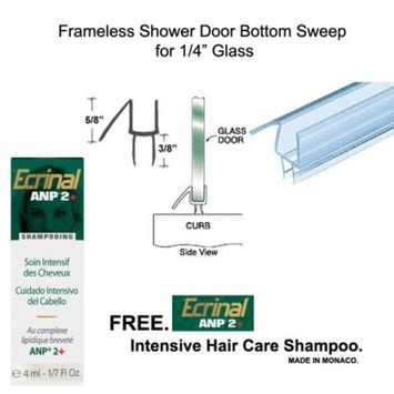 Clear Shower Door Bottom Seal with Drip Rail for 1/4