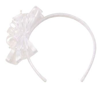 Girls White Elegant Satin Organza Ribbon Floral Elegant Headband