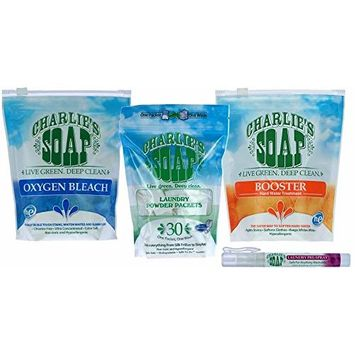 Charlie's Soap HE Hypoallergenic Laundry Powder Packets with Pre Spray Stain Remover Variety