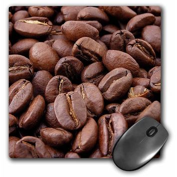 3dRose Coffee Beans - coffee, coffee beans, kitchen art, coffee seeds, roasted beans, roasted coffee beans, Mouse Pad, 8 by 8 inches