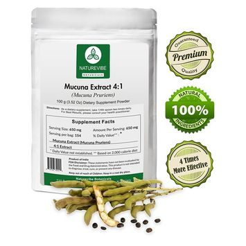 Naturevibe Botanicals Mucuna Extract 4:1 (100 Grams) - 4 x More Effective - Boosts Testosterone, Prostate Health, Urinary Tract Health - 100% Pure and Natural