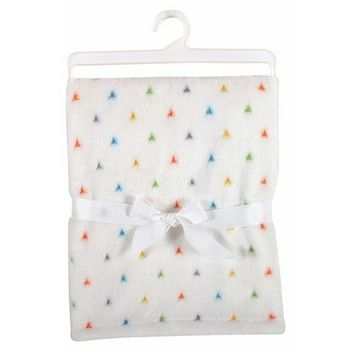 Stephan Baby Super-Soft Coral Fleece Crib Blanket, White with Primary Triangles