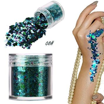 5G Shimmer Loose Sequins Powder Hosamtel Colorful Glitter Chunky Sequins Flakes Ultra-thin Tips Mixed Paillette Makeup Dust for Face Body Hair Nail Art Decor