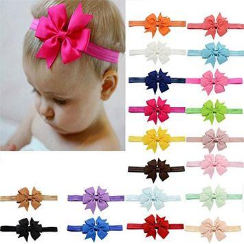 CosCosX 20-Piece Baby Girls Elastic Bowknot Hair Bow Headband Hairband Hair Accessories