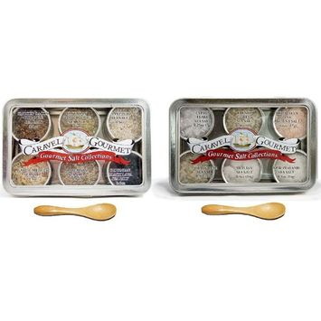The Gourmet Sea Salt Sampler 2-pack - Infused + Natural Duo - Perfect as a Gift Set - Reusable Tins & Bamboo Spoon - Gluten-Free, No MSG, Non-GMO - 1/2 oz. each, 6 total oz. [Infused + Natural]