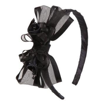 Girls Black Elegant Satin Organza Ribbon Floral Elegant Headband