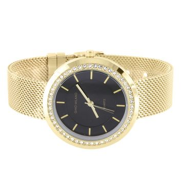 Master Of Bling - Gino Milano Watch Mesh Band Gold Tone Black Dial Simulated Diamond Bezel Classy