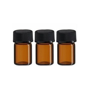 3 ml Mini Amber Glass Essential Oil Bottle with Orifice Reducer and Cap for Essential Oils Perfumes Lab Chemicals Pack of 24 pcs