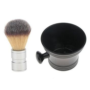 Homyl Premium Beard Shaving Brush Alloy Handle with Shave Soap Mug Bowl Cup Set for Men Gift