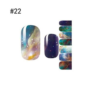 1-Sets Alluring Popular Hot 3D Nail Art Sticker Waterproof Decals Decorations Heat-Resistant Wraps Color Style-22