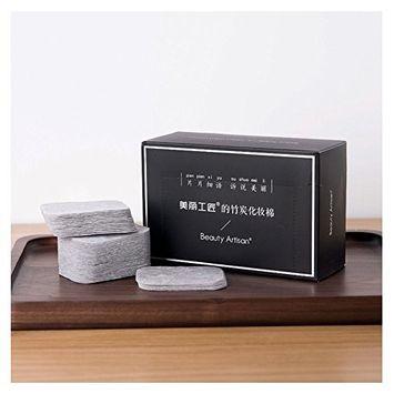 HaloVa Cotton Pads, Makeup Facial Soft Cut Cotton, Unbleached Bamboo Charcoal Makeup Remover Cotton Pads 200 Counts
