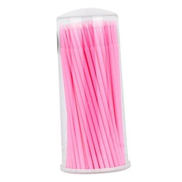 Dovewill 100pcs Eyelash Extensions Micro Brushes Swabs Tattoo Microblading Disposable Applicator - Pink, as described