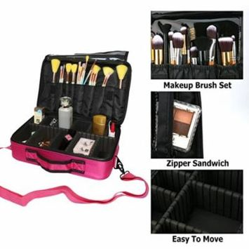 Zimtown Travel Makeup Train Case Makeup Cosmetic Case Organizer Portable Artist Storage Bag 16'' with Adjustable Dividers