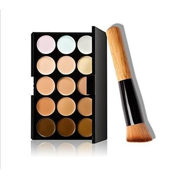 15 Colors Makeup Concealer Foundation Cream Cosmetic Palette Set Tools with Brush by Fashion Base