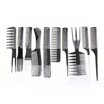 Rambling 10 Piece Hair Styling Comb Set Professional Black Brush Barbers