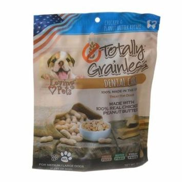 Loving Pets Totally Grainless Dental Care Chews - Chicken & Peanut Butter Medium/Large Dogs - 6 oz - (Dogs over 16 lbs) - Pack of 4