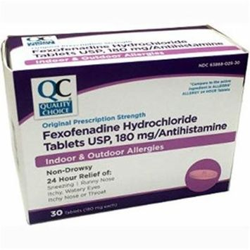 2 Pack Quality Choice Fexofenadine 180mg (Compared to Allegra) 30 Tablet Each