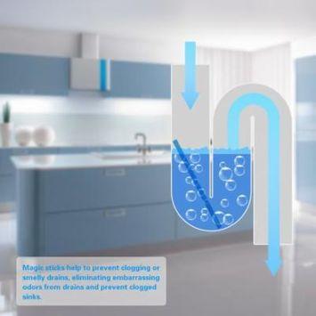 12pcs/set Pipeline Bathtub Drain Cleaner Decontamination Rod Sani Rods Sewer Toilet Cleaning Stick Deodorizer Deodorant