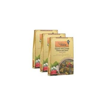 (3 Pack) Kitchens Of India Spinach with Cottage Cheese And Sauce Palak Paneer, 10 oz