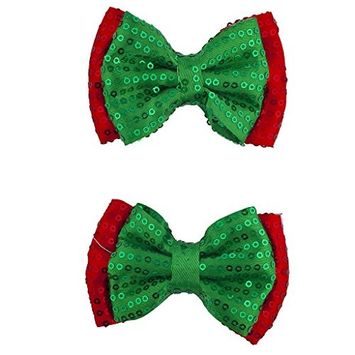 Lux Accessories Christmas Xmas Holiday Green and Red Sequin Bow Pack Set 2pcs