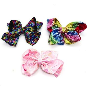 Ids Pack of 3 Big Bows Glitter Sequins Boutique Big Hair Bow Clips for Girls