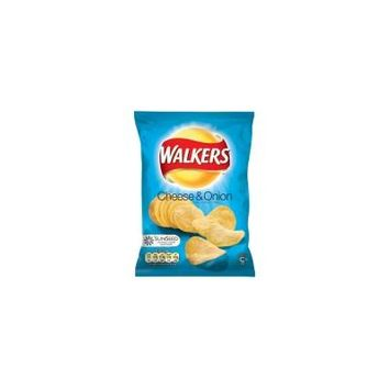 Walkers Crisps - Traditional British Bags of Walkers in Various Flavours- 24 x 32.5g (Cheese & Onion) by Walkers
