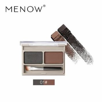 MENOW Double Color Eyebrow Powder Waterproof Anti-sweat anti- water Professional Artist Tool Eye Brow Shadow Makeup Kit Set 2 Colors Brown