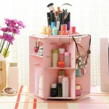Makeup Organizer 360 Degree Rotating Adjustable Multi-Function Cosmetic Storage
