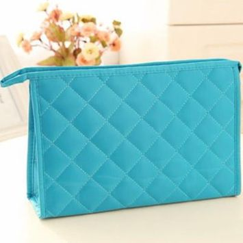Classic Design Portable Solid Color Women Waterproof Makeup Bag Cosmetics Bag