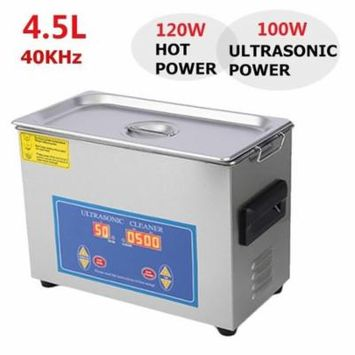 Ultrasonic Cleaner 4.5L 120W with Basket & SMART digi tal1 Timer for Jewellery Lenses Watches Dental Coins & Etc. Denture Cleaner Jewelry Cleaner Glass Cleaner