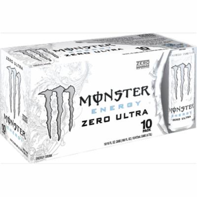 (20 Cans)Monster Ultra Energy Drink, Zero, 16 Fl Oz