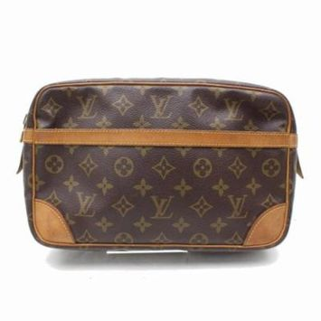 Louis Vuitton Compiegne Monogram 28 Cosmetic Pouch 868229 Brown Coated Canvas Clutch