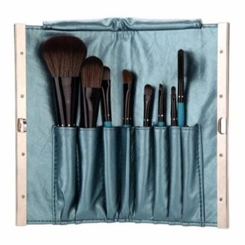 8pcs Professional Makeup Brush Set Cosmetic Brush Kit Makeup Tool with Snake Pattern Folding Leather Case Blue