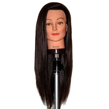 Bellrino 26-28 60% Human Hair Cosmetology Mannequin Manikin Training Head with Synthetic Fiber - (EMILY+C-V9)