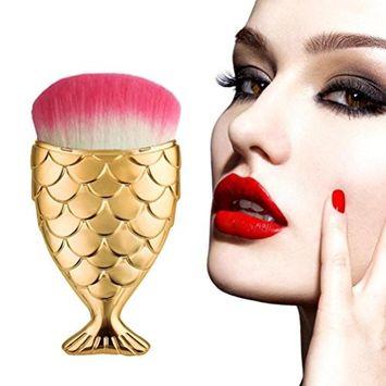 Novelty Makeup Brush, Doinshop Fish Scale Brush Fishtail Bottom Powder Blush Makeup Cosmetic Brush