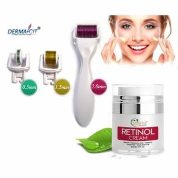 3-IN-1 Derma Roller Skin Care Set 0.5-1.5-2.0mm w/ Retinol Day & Night Cream 1.7 fl oz.