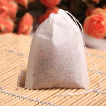Oie Loves 100Pcs/Set Empty Teabags String Heat Seal Filter Paper Herb Loose Tea Bags