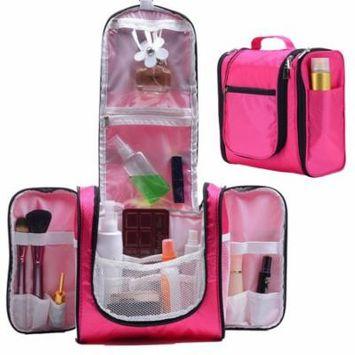 GHP 1-Lb Pink Polyester Waterproof Bathroom Hanging Cosmetic Bag Organizer w Hook