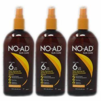 NO-AD 3 Pack Hawaiian Style SPF 6 Dark Tanning Oil 16 Fl Oz Each