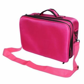 GHP Rose Red Oxford Fabric Multilayer Portable Travel Makeup Bag with Shoulder Strap