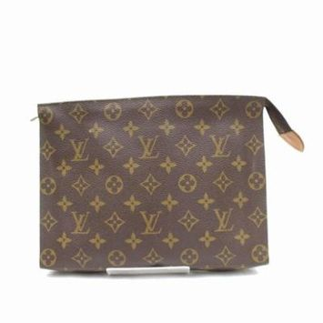 Brown Poche Monogram Toiletry Pouch 26 Toilette 869114 Cosmetic Bag PRE-OWNED