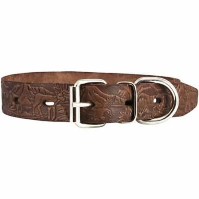 """Dogs My Love Genuine Tooled Leather Dog Collar Hunting Pattern Brown 3 Sizes (Neck Circumf: 10""""-13""""; 3/4"""" Wide)"""