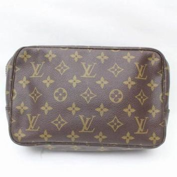 PRE-OWNED Brown Trousse Monogram Pouch 23 Toilette 869174 Cosmetic Bag
