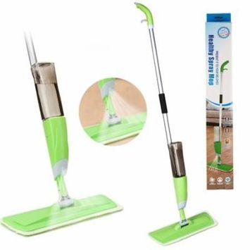 HK Floor Spray Mop Cleaner Starter Kit + Refillable 25oz Bottle + Reusable Microfiber Pad
