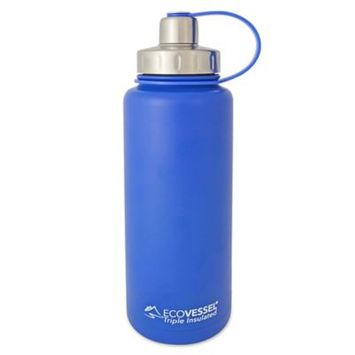 EcoVessel Boulder Triple-Insulated Stainless Steel Water Bottle, Blue